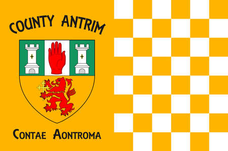 Flag of County Antrim is one of six counties that form Northern Ireland. Vector illustration