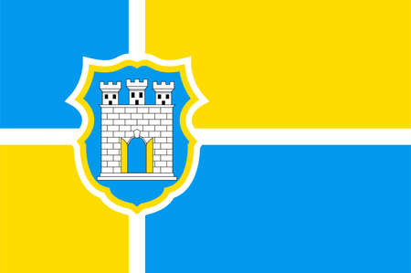 Flag of Zhytomyr is a city in the north of the western half of Ukraine. Vector illustration