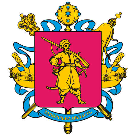 Coat of arms of Zaporizhia Oblast is an province of southern Ukraine. Vector illustration