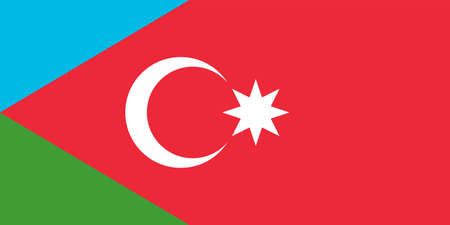 Flag of south Azerbaijan is a historical region in northwestern Iran. Vector illustration