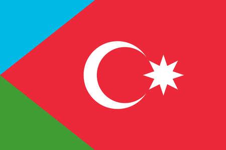 Flag of South Azerbaijan is a historical region in northwestern Iran. Vector illustration