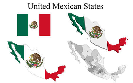 Flag of Mexico on map and map with regional division. Vector illustration