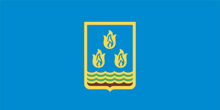 Flag of Barda is the capital city of the Barda Rayon in Azerbaijan. Vector illustration