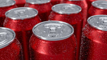 3D image of red aluminium cold cans staying in the group with water droplets. With blurred background