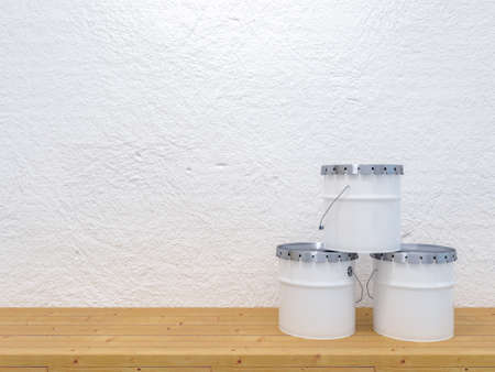 Wooden plank shelf with three paint buckets. With white plaster concrete background. 3d render mockup image with front view Reklamní fotografie