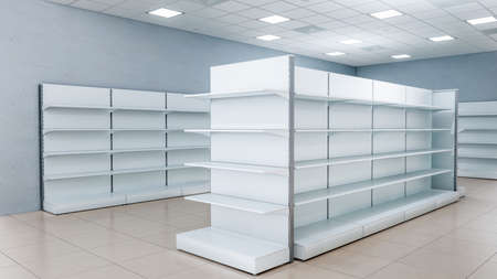 3D image front side view of grocery shelves with front and end shelves inside cheap discount supermarket interior Foto de archivo