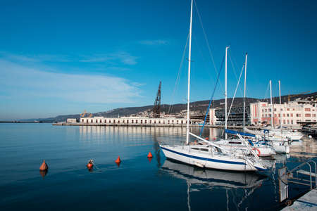 city park boat house: Strolling on the banks and in the streets of Trieste Stock Photo