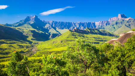 kwazulu natal: Panoramic View of the Drakensberg National Park Stock Photo