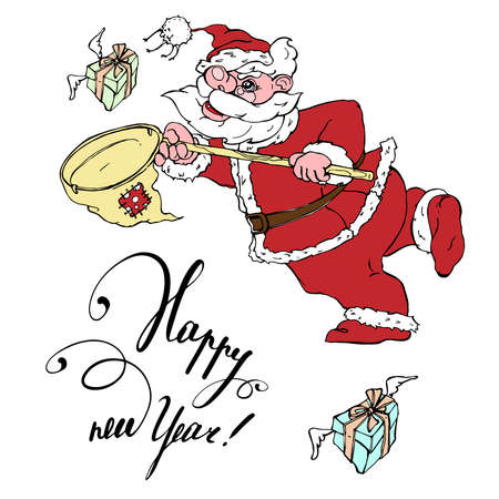 Happy New Year.Handwritten text. Santa Claus with a net catches gifts. Graphic isolated drawing painted in different colors.For holiday decoration and printing