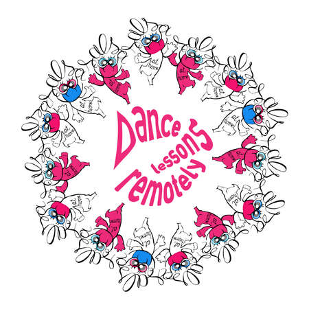 Dance lessons remotely.Salsa. Black isolated lettering. A wreath of figures of dancing men in medical masks. Positive advertising.