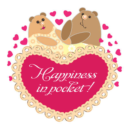 Happiness is in your pocket. Valentine's Day.Cute animals.A postcard. A pair of bears in love. Family, lovers, father and mother, husband and wife, spouses. Hearts and lots of pink hearts.