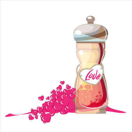 Valentine's Day The elixir of love.Love. For lovers. A bottle of spices. A handful of hearts. Cuisine, food, condiments. The sharpness of feelings and relationships. Spices, restaurant, cafe. Pepper mill