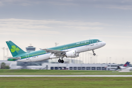Munich, Germany - 13. September 2018 : Aer Lingus Airbus A320-214 with the registration EI-EDP starts on the northern runway, at the Munich airport MUC EDDM Redakční