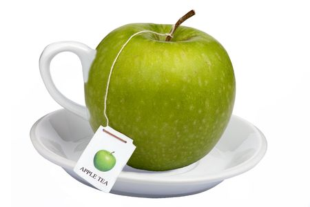 A nice cup of steamy apple tea a healthy way to start your day photo