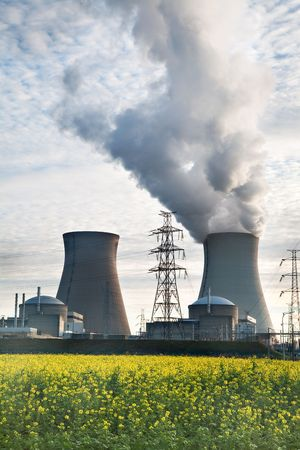 nuclear waste: cooling towers of a nuclear power plant Editorial