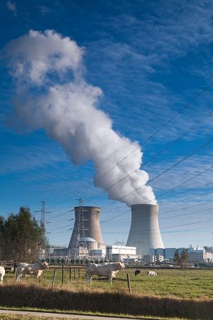 nuclear power plant: cooling towers of a nuclear power plant Editorial