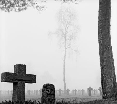 kerk hof met rijen van kruisen en bomen in de herfst mist zwart-wit film korrel  Stockfoto