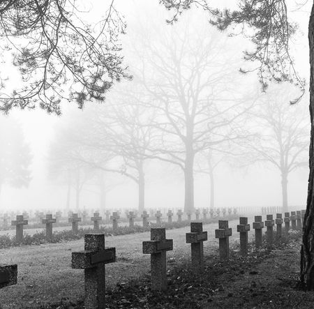 graveyard with rows of crosses and trees in the autumn mist monochrome film grain Stock Photo - 5789896