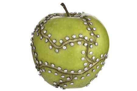 manipulated   alter: apple manipulated fruit with nails holding it together