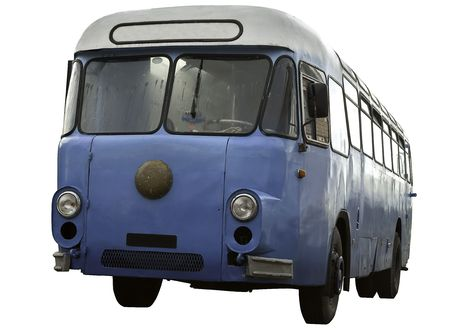 old vintage blue white bus
