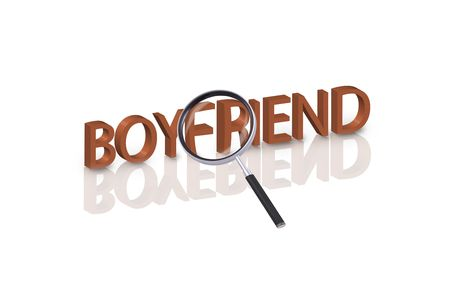 magnifying glass enlarging part of 3D word boyfriend in red with reflections Stock Photo - 6269143