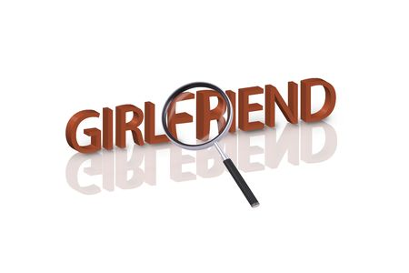 magnifying glass enlarging part of 3D word girlfriend in red with reflections Stock Photo - 6269146