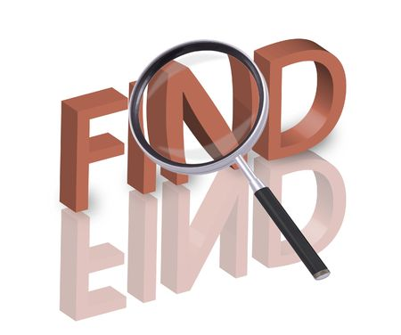 magnifying glass enlarging part of 3D word find in red with reflections photo