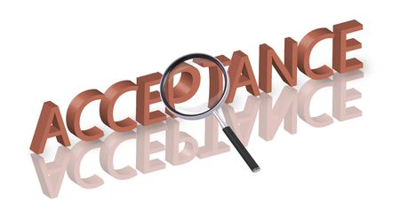 acceptance: magnifying glass enlarging part of 3D word acceptance in red with reflections