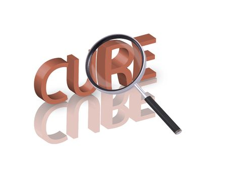 Magnifying glass enlarging part of red 3D word with reflection Stock Photo - 6296393