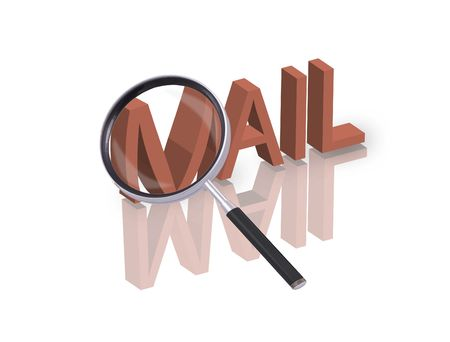 Magnifying glass enlarging part of red 3D word with reflection Stock Photo - 6296392