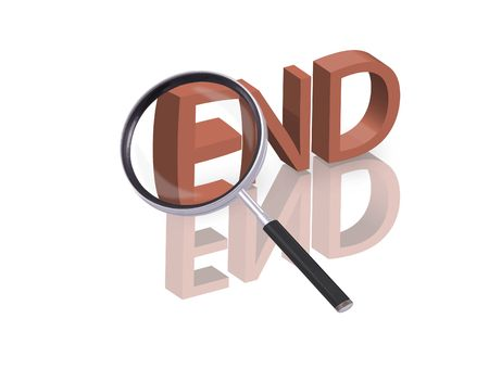 Magnifying glass enlarging part of red 3D word with reflection Stock Photo - 6296389
