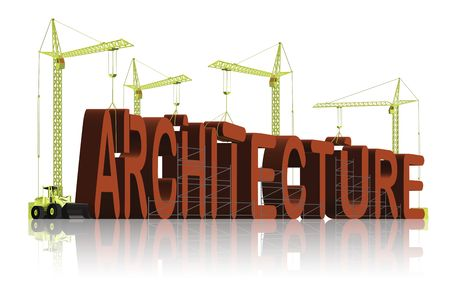 architecture, tower cranes constructing 3d word photo