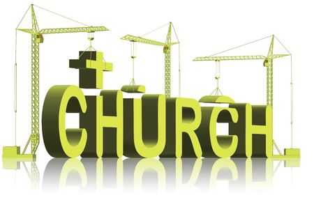 church 3d: building a church, tower cranes constructing 3d word
