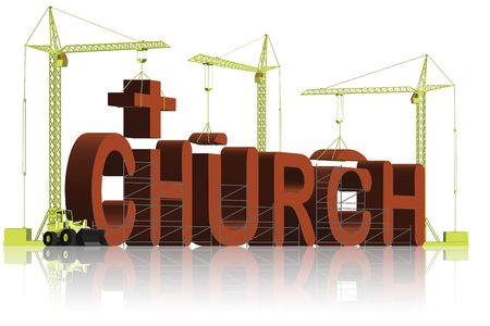 building a church, tower cranes constructing 3d word Stock Photo - 6542753