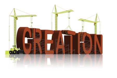 creationism: creation, tower cranes constructing 3d word Stock Photo