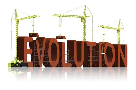 darwinism: the origin of evolution, tower cranes constructing 3d word Stock Photo