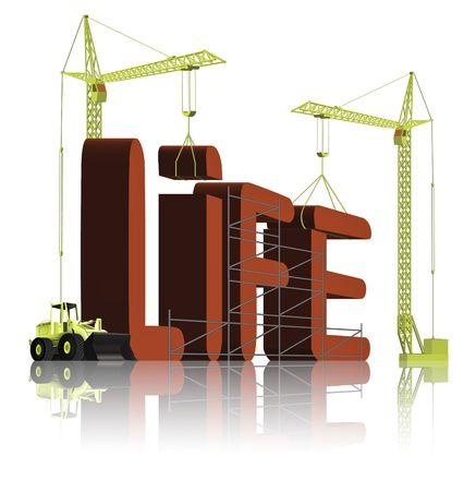 constructing: creating life, tower cranes constructing 3d word Stock Photo