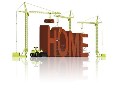 tower cranes creating 3D word Stock Photo - 6542734