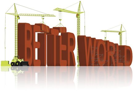 tower cranes creating 3D word Stock Photo - 6542746