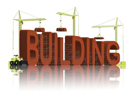 tower cranes creating 3D word Stock Photo - 6542750