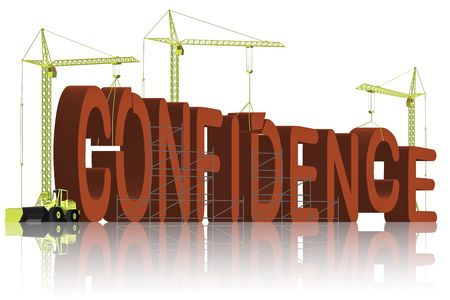 self confidence: tower cranes creating 3D word
