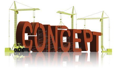 engeneering: tower cranes creating 3D word