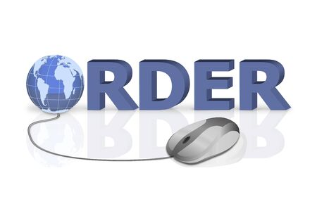 mouse click to order 3D word with globe incorporated Stock Photo - 6583762