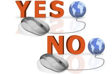 yes and no written in big red letters connected with mouse Stock Photo - 6921489