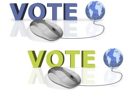 vote and no written in big blue and yellow letters connected with mouse photo