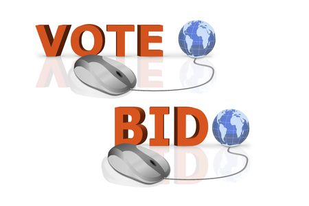 vote and bid written in big red letters connected with mouse photo