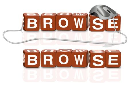 red dices spelling the word browse with or without mouse Stock Photo - 6921501