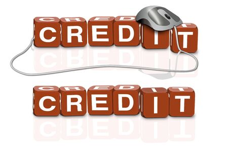 red dices spelling the word credit with or without mouse photo