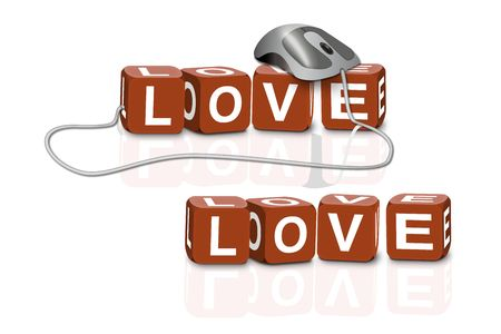 red dices spelling the word love with or without mouse photo