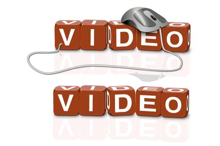 blueray: red dices spelling the word video with or without mouse